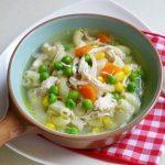 Món chay soup bắp và đậu hà lan